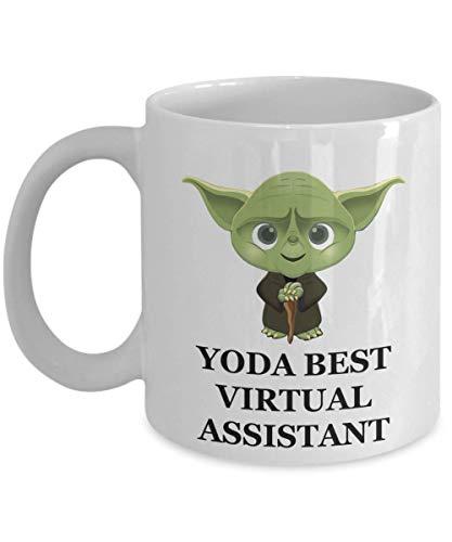 Taza Yoda Best Virtual Assistant - Regalos de fiesta de Navidad de cumpleaños para empleados, esposo, esposa, hombres, mujeres, él, su café Star Wars Jedi