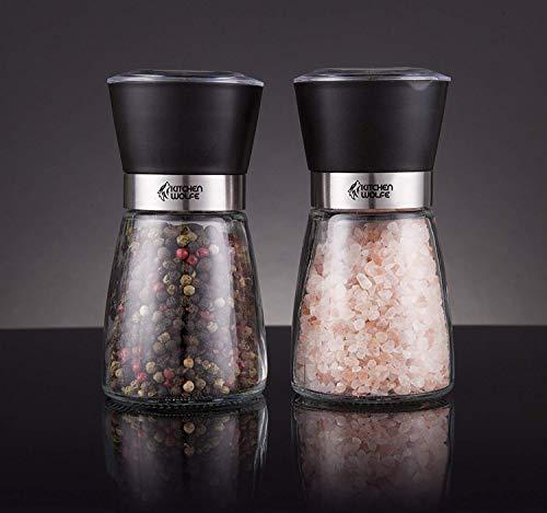 Kitchen Wolfe Glass Salt and Pepper Mills Grinder Set - (2pcs) - Elegant Salt Mill - Pepper Mill - Great for Himalayan Salt -Glass Body with Adjustable Ceramic Grinder -(No Spices Included)