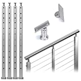 """Muzata 4Pack Cable Railing Post Stair 42""""x2""""x2"""" Stainless Steel Square..."""