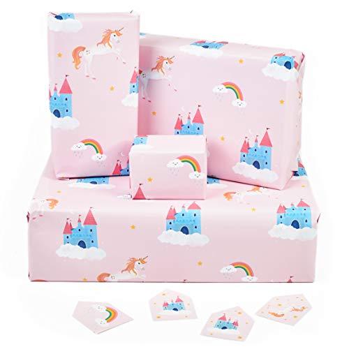 Central 23 - Geburtstags-Geschenkpapier - Rosa Einhorn & Regenbogen - 6 Geschenkpapierblätter für Mädchen - Neues Baby - Magisches Geschenkpapier