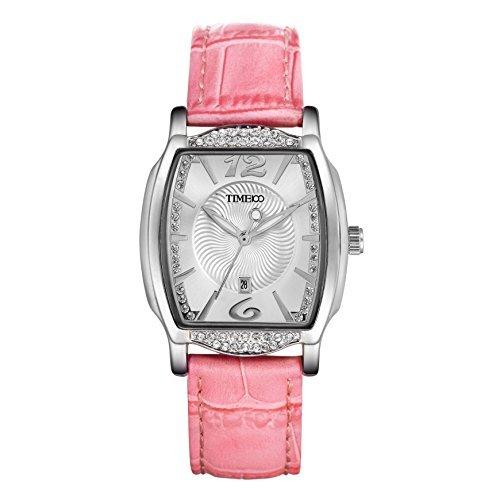Time100 Fashion Elegant Diamonds de Cuarzo Reloj de Mujer de Piel