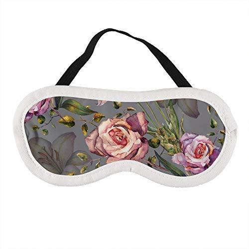 Tragbare Augenmaske für Damen und Herren, Wasserfarben, Lilie und Rosen auf einem violetten Hintergrund, die beste Schlafmaske für Reisen, Nickerchen, gibt Ihnen die beste Schlafumgebung
