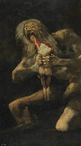 Saturno devorando um filho de Francisco de Goya - 50x89 - Tela Canvas Para Quadro