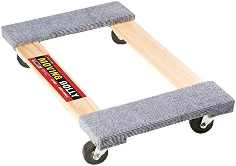 """Carpeted Grey Heavy Duty Wooden Movers 18/""""x30/"""" Shoulder Dolly M4010 Four Wheeled Moving//Furniture Dolly 18x30 4 Dolly-18 1,000 Pound Capacity"""