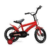 14 pulgadas Bicicleta para niños,Bicicleta para niños y niñas con ruedas de entrenamiento(Rueda auxiliar resistente al desgaste/neumáticos antideslizantes y resistentes al desgaste) Rojo