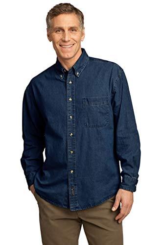 Port & Company - Chemise en jean à manches longues - Bleu - Large