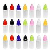 YIQI Botellas de plástico de 21 Piezas, frascos con cuentagotas, frascos con cuentagotas, frascos de 10 ml vacíos con gotero, Tapa de Goteo para Gotas para los Ojos (Color Aleatorio)