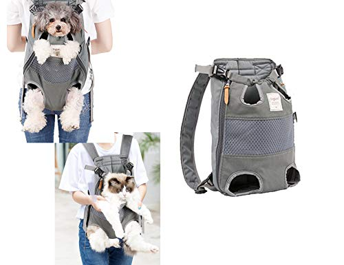 Tineer Zaino per Animali Domestici,Regolabile Dog Front Legs out Carrier Backpack Il Sacchetto di Mano Libero Viaggi,Easy-Fit per 5-12KG Piccole Medie Gatti Cani attività all'aperto (Grigio)