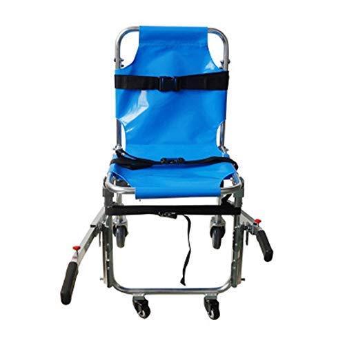 Transportrollstühle - Treppenstuhl JXSD-ST008 EMS Emergency 4 Wheels Ambulance Feuerwehrmann Evakuierung Medizinischer Transportstuhl mit Rückhaltegurten für Patienten, 350 lbs Kapazität, Blau