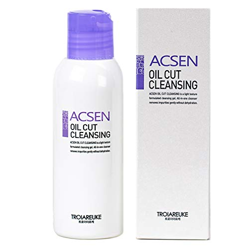 TROIAREUKE ACSEN Oil Cut Cleansing 4.05 fl.oz, Hypoallergenic, Non-Foaming, and Oil-Free Face Wash and Makeup Remover | Hydrating Cleansing Gel For Sensitive and Acne Prone Skin