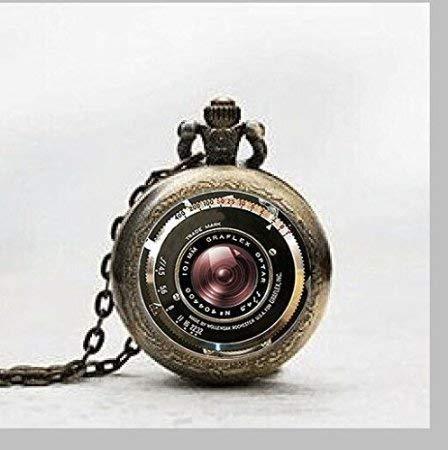 Vintage Kamera Anhänger antik Kamera Objektiv Anhänger Grau Schwarz Anhänger Taschenuhr, Vintage Kamera Anhänger antik Kamera Objektiv Anhänger Grau Schwarz Halskette Taschenuhr Charme,