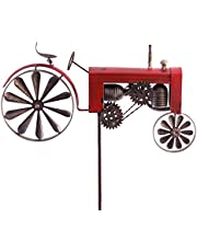 CIM Metalen windmolen - tractor ROOD - weerbestendig, met antiek effect - windwielen: Ø18cm/10cm, motief: 50x28x6cm, totale hoogte: 140cm - incl. staander
