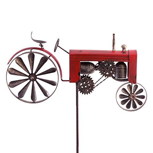 CIM Metall Gartenstecker mit Windrad - Vehicle - wetterfest - mit Antik-Effekt - Windräder: Ø18cm, Motiv: 51x32cm, Gesamthöhe: 160cm – attraktive Gartendekoration (Traktor Rot)