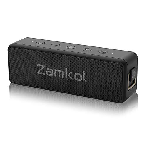 Bluetooth Lautsprecher, Zamkol Tragbarer Boxen mit 20W individueller EQ, 30 Stunden Akku, IPX7 Wasserschutz, Stereo Dualen Paarung für Zuhause, Draußen, Garten (Schwarz)