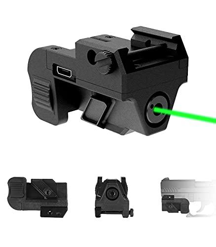 Pistol Green Gun Laser Dot Sight Picatinny Weaver Raill Mount for Pistol, Handgun Subcompact USB Rechargeable Tactical Quick Release