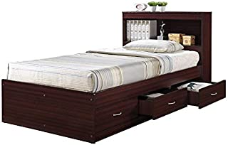 Pemberly Row Twin Captain Storage Bed in Mahogany