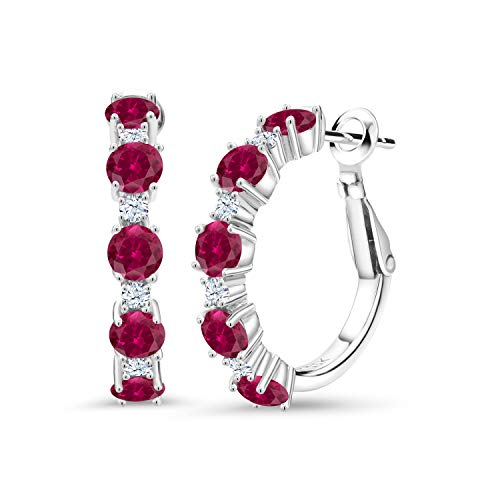 Gem Stone King 925 Sterling Silver Red Created Ruby and White Created Sapphire Women Hoop Earrings (2.82 Cttw Round Cut 1 Inch Diameter)