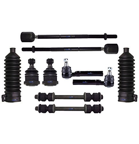 10 Pc Front Sway Bar End Links Tie Rod Ends & Lower Ball Joints Rack and Pinion Bellow Boot Suspension Kit