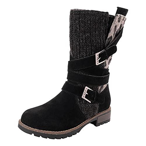 Fullwei Winter Boots for Women,Women Mid Calf Winter Snow Boot Ladies Round Toe Chelsea Platform Leopard Slip On Causal Walking Combat Motorcycle Riding Shoe (Black, 9)