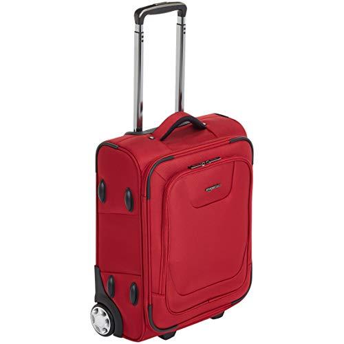 Amazon Basics – Aufrechter Premium-Weichschalen-Koffer mit TSA-Schloss, erweiterbar, 48 cm, Handgepäck, rot