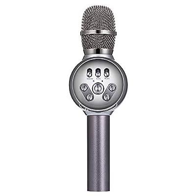 INSMART 3-in-1 Portable Handheld Wireless Karaoke Microphone (Grey)