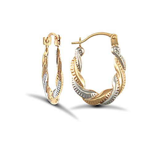 Jewelco London Ladies 9ct Yellow and White Gold Twisted Platted Creole Earrings