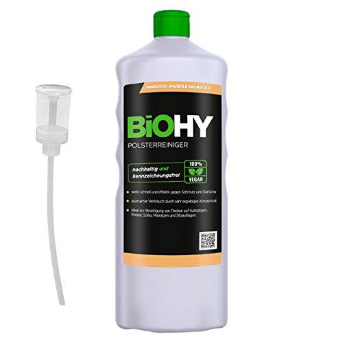 BiOHY Spezial Polsterreiniger (1l Flasche) + Dosierer | Ideal für Autositze, Sofas, Matratzen etc. | Ebenfalls für Waschsauger geeignet
