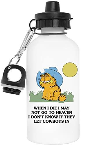Garfield Vaquero Reutilizable Blanco Aluminio Botella de Agua Reusable White Aluminium Water Bottle