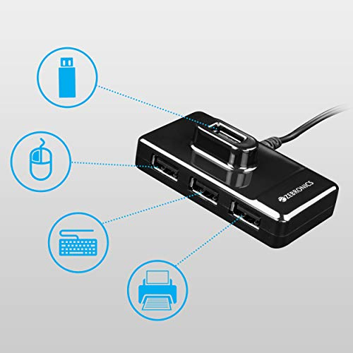 ZEBRONICS Zeb-100 4 Ports USB Hub for Laptop, PC Computers, Plug & Play, Backward Compatible - Black