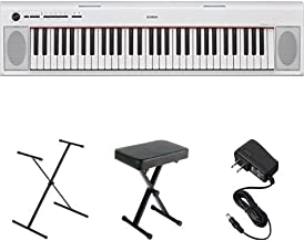 Yamaha NP12 61-Key Lightweight Portable Keyboard, White, with Stand, Bench, and Power Supply