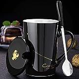 Taza de café de cerámica con tapa y cuchara, 12 constelaciones temáticas Star Drill taza de leche 420 ml taza de café personalizada regalos creativos personalidad taza de cerámica (escorpio, negro)