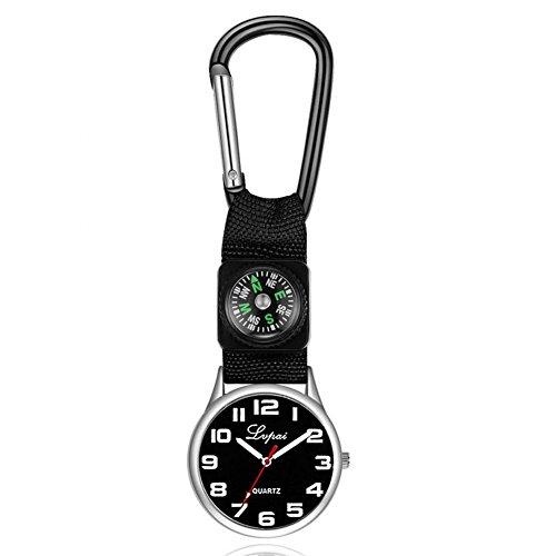 Dilwe Sportuhr, Lässige Multifunktions Kompassuhr mit Einem Karabinerhaken an der Taschenlaufuhr für Camping(Schwarz)
