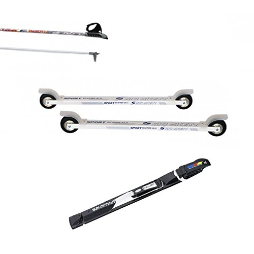 Ski Skett Série Ski Roue, Ski Roue Sport Skate ALU PL, Fixations Salomon Pilot SK, bâtons pour Ski Roue Long. 165 cm.