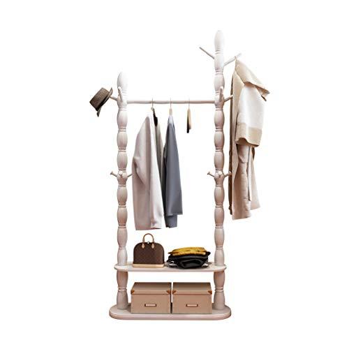 Râteliers multi-usages Porte-Manteau Plancher en Bois Massif Chambre Cintre Cintre Hall de Salon Salon étagère Moderne Minimaliste Cintre Casiers (Color : Blanc, Size : 80 * 30 * 180cm)