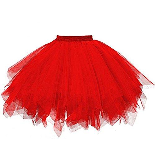 Tüllrock Ballettrock Tutu Petticoat Vintage Partykleid Unterkleid Hirolan Damen Falten Gaze Kurzer Rock Erwachsene Tutu Tanzender Rock Ballklei Abendkleid Zubehör (Einheitsgröße, Rot)