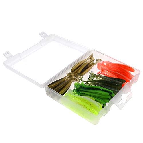 Set di esche da pesca morbide con confezione da 60 pezzi, con scatola di immagazzinaggio, 5 colori, in silicone, per pesce persico, luccioperca, trote, spigola, sgombro