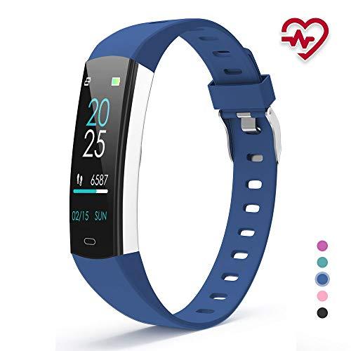 YoYoFit Fitness Armband Kinder, Wasserdicht IP67 GPS Fitness Tracker Aktivitätstracker Pulsmesser Schrittzähler Uhr mit Schlafen Anruf SMS Nachricht für Damen Herren Kinder (Blau)