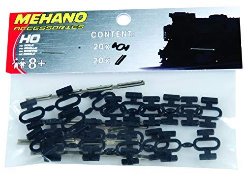 Mehano- Set Conectores de Carril y Clips, Color Nero, h0 (F246)