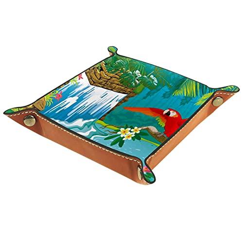 Bandeja del valet del almacenamiento del escritorio, almacenamiento plegable de cuero de la joyería de la bandeja Cascada Flores Ramas Red Parrot para escritorio, oficina, llave, joyería