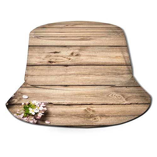 PUIO Sombrero de Pesca,Rama de árbol con Flores de Primavera Dulce en la Imagen de huerto floreciente de Madera,Senderismo para Hombres y Mujeres al Aire Libre Sombrero de Cubo Sombrero para el Sol