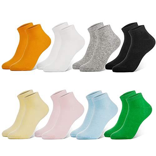 Newdora Sneaker Socken Damen, 8 Paar Baumwolle Füßlinge Kurze Rutschfest Damen Socken (Schwarz,grau,orange,gelb,pink,grün,blau,weiß) XL(39-43)