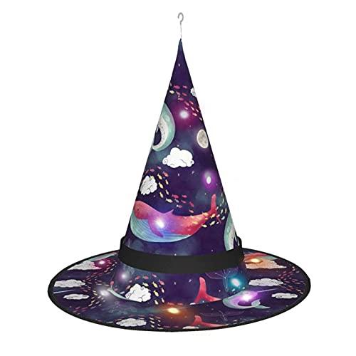 cercehy sonxs Narwhal - Sombrero de bruja con delfn con luz, para fiesta de Halloween, disfraz de disfraz, accesorio y uso diario