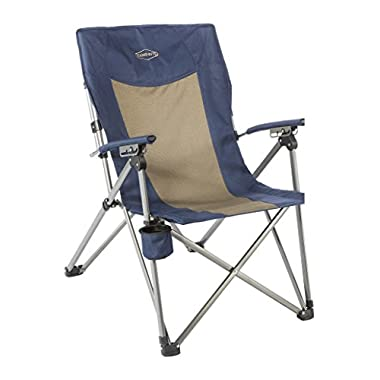 Kamp-Rite 3 Position Hard/Arm Reclining Chair with Cup Holder, Blue/Tan