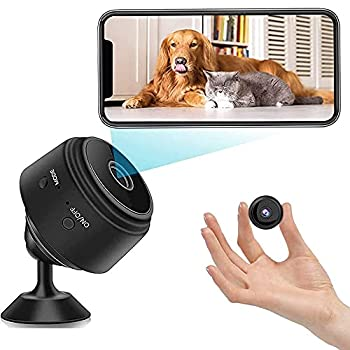 Mini Spy Camera with Audio,Wireless WiFi Hidden Camera 1080P HD Home Security Cams with Cell Phone App iOS/Android ,Portable Surveillance Nanny Cam with IR Night Vision,Charging,for Home/Office/Car