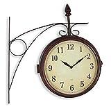Reloj de Pared Doble Cara - Estilo Vintage Estación de tren Ø 27 cm - Doble Cara : Hora y Termómetro / Temperatura - Radiocontrolado - Impermeable IP 53 - Marrón