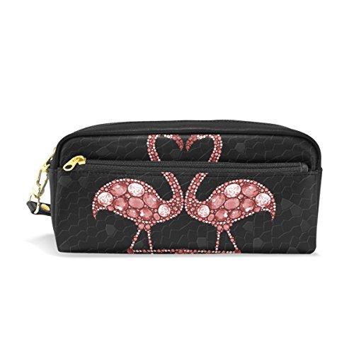 ISAOA Trousse à crayons de voyage, trousse de maquillage, motif flamants roses abstraits, grande capacité, sac portable, cadeau pour enfants, fille, femme