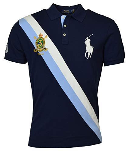 Polo Ralph Lauren Mens Big Pony Custom Slim Fit Three Button Crest Polo (Large, Navy)