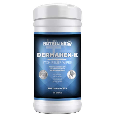Nutriline Labs DermaHex-K Itch Relief Wipes Antiseptic Antibacterial ANTIFUNGAL, Hypoallergenic Formula, SOAP Free 70ct
