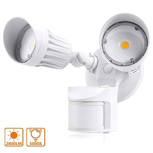 Foco LED con Sensor de Movimiento, Lacyie 36W Lámparas de proyector led exterior Iluminación 2800LM, IP65 para el Garaje, el Jardín, Luz del Sol Insuficiente.