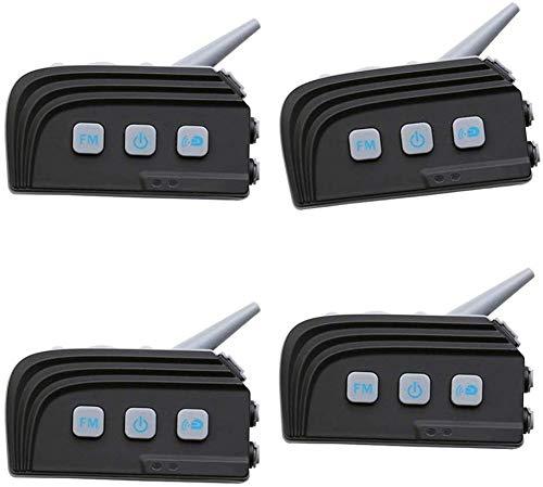 ZGYQGOO Casco de motocicleta Walkie-talkie Bluetooth Headset 4.0/4.1 Módulo de respuesta automática Radio FM Duplex completo 4 personas Intercomunicador en tiempo real (Negro), C